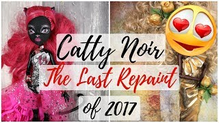 The Last Doll Repaint of 2017 - Catty Noir Monster High Faceup / Art Tutorial / How To Draw Face