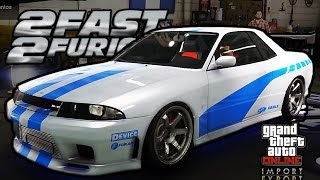 GTA 5 Online Elegy Retro Custom! (Paul Walker Skyline) R32!