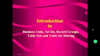 Introduction to business unit , set ids and tablesetsharing concept