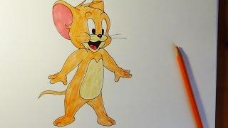How to draw Jerry from Tom & Jerry, Como dibujar Jerry, Как нарисовать Джерри