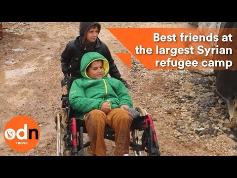 Two best friends at the largest Syrian refugee camp