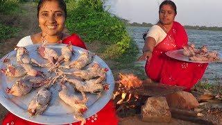 Fried Quails- Amazing Roasted Angry Birds Fry - BBQ Kouju Pitta - Traditional Way Of Cook Quail Bird