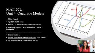 MAT137L: Launch 4.1: Introduction to Quadratic Functions