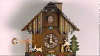 1 Day Musical Cuckoo Clock W/ Woodchopper Chopping Wood & Animated Chimney Sweeper - 11 In. Tall