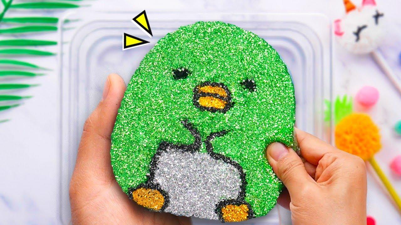 DIY角落生物花泥,加上閃粉裝飾太可愛了,真捨不得捏碎,無硼砂 - YouTube