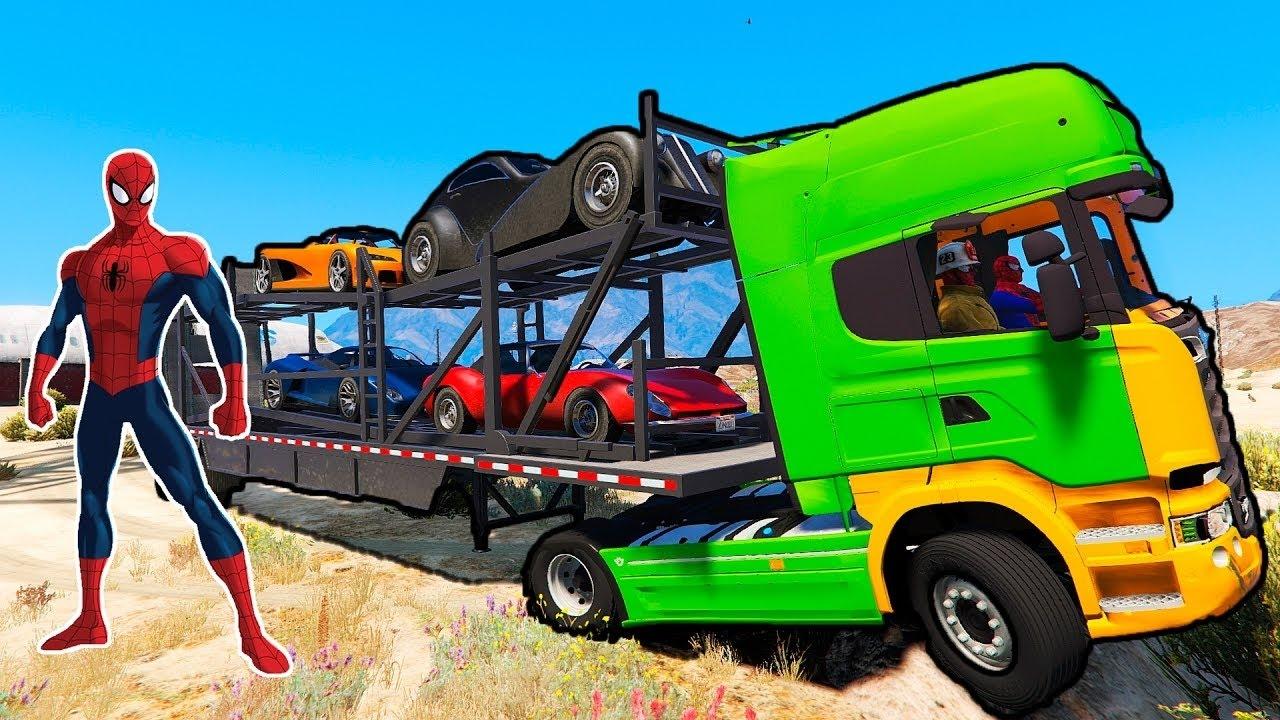 Zielone Samochody Ciężarowe I Kreskówki Dla Dzieci Z Spiderman Dla Dzieci Z