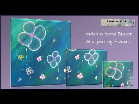 Acryl Malen Blumen Blüten / Painting blossoms
