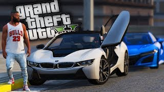 Buying & Street Racing Franklins' New BMW i8! - GTA 5 Real Hood Life - Day 33
