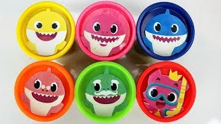 Nat and Essie Teach 6 Colors with Baby Shark Play-Doh Lids