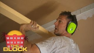 Spence miraculously pulls of a coffered ceiling | The Block 2018