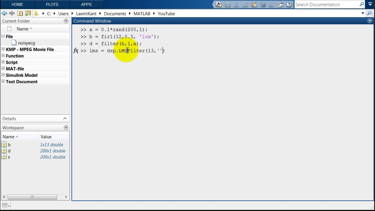 Adaptive Normalized LMS or NLMS Filter in MATLAB