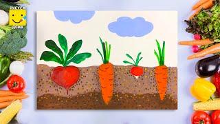Как нарисовать ОВОЩИ поэтапно на грядке/ МОРКОВКА/ СВЕКЛА/РЕДИСКА/ Урок рисования для детей