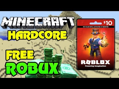 🔴 FREE 800 ROBUX GIVEAWAY!! ($10 Gift Card) | Minecraft HARDCORE! | ROBUX  Every 30 Minutes! | Live