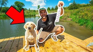 TEACHING My PUPPY to SWIM/RETRIEVE in My BACKYARD POND!!!