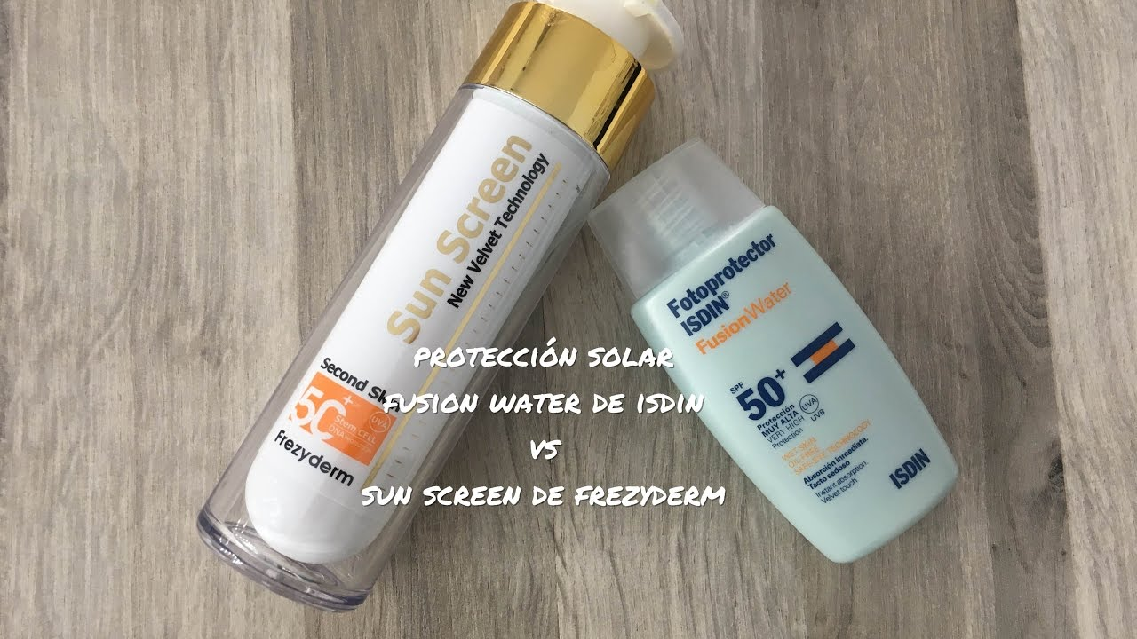 Protección solar Fusion water de Isdin vs Sun screen de ...