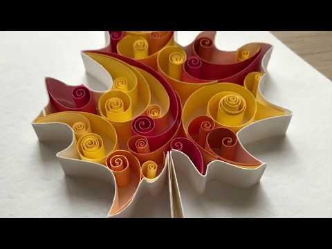 QllArt | Quilling Autumn Card | Maple Leaf | Контурный квиллинг Кленовый лист