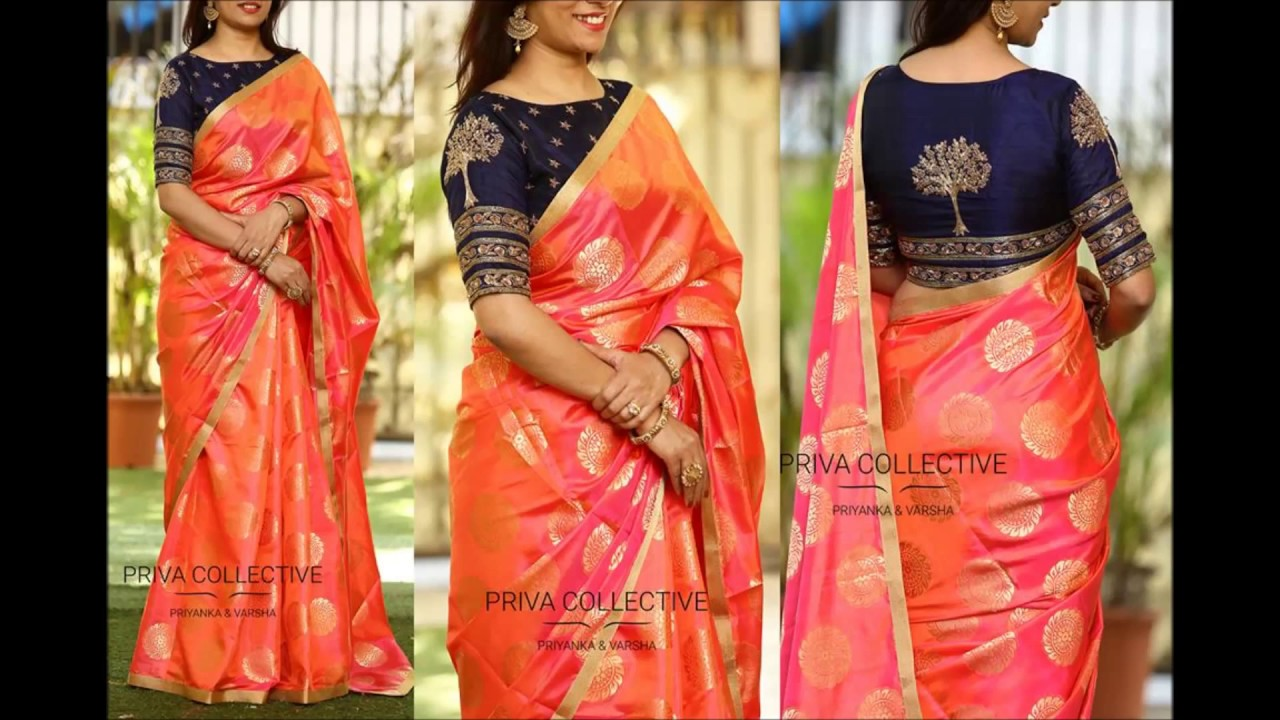 a31ce5d3a64943 Contrast Combination Blouse & Saree Mix and Match Designer Collections