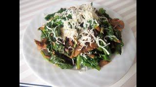 шпинат с грибами. Как вкусно приготовить шпинат. Spinach / spanak yemei