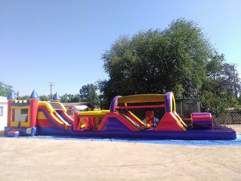 70ft Obstacle course and Jumper with slide in Moreno Valley, Riverside party jumpers,Menifee jumpers