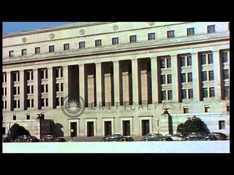 Department of the Interior Building and Federal Reserve Building in Washington DC...HD Stock Footage