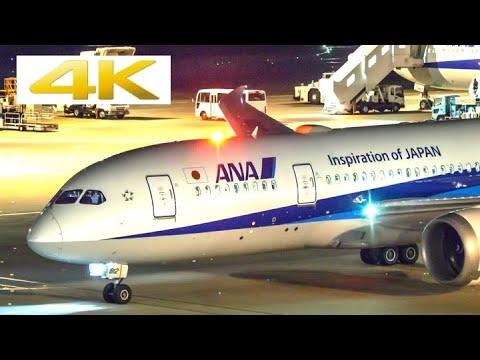 [4k] [飛行機 動画] 夜の羽田空港 Haneda Airport at night