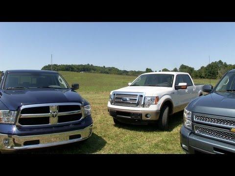 2013 Ram 1500 vs Ford F-150 vs Chevy Silverado 0-60 MPH Mashup Test
