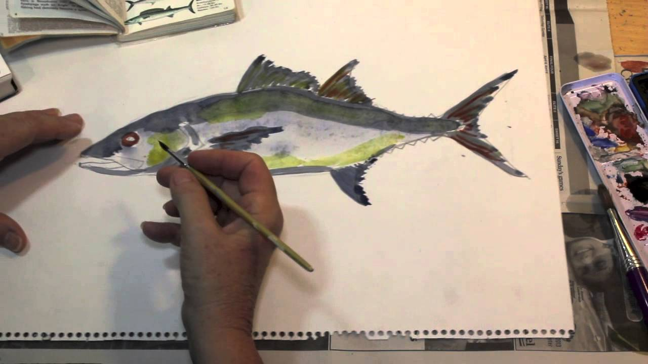 How to paint a fish the easy way spanish mackerel youtube for How to paint a fish