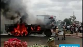 Cauvery dispute: TN registered lorry set on fire in Karnataka
