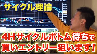 【FX】サイクル理論  次は4Hサイクルボトム待ちで買いエントリー狙います!