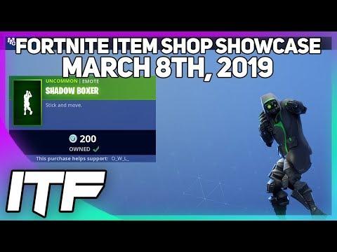 Fortnite Item Shop *NEW* SHADOW BOXER EMOTE! [March 8th, 2019] (Fortnite Battle Royale) thumbnail