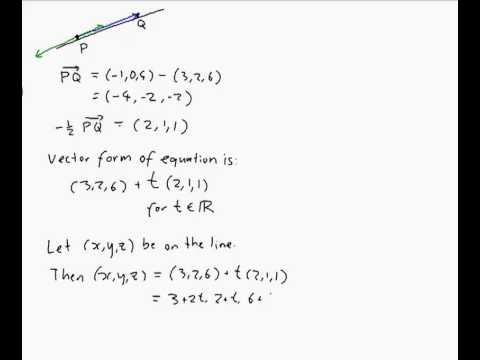 point slope form 3d  EXAMPLE: Finding the equation of a line in 12D through two points