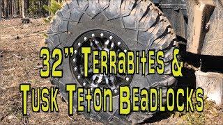"""New Tusk Teton Beadlock Wheels With 32"""" Tusk Terrabite Tires Rzr Xp Turbo"""