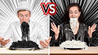 TANTANGAN HITAM VS PUTIH! Makan dan Beli Benda 1 Warna Dalam 24 Jam oleh 123 GO! CHALLENGE