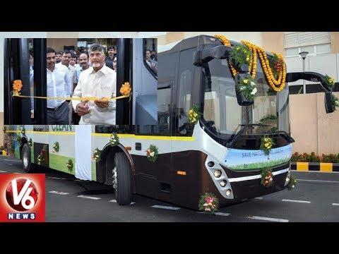 CM Chandrababu Launches Electric Buses In Amaravati | Andhra Pradesh | V6 News
