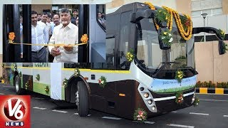 CM Chandrababu Launches Electric Buses In Amaravati | Andhra Pradesh | V6 News