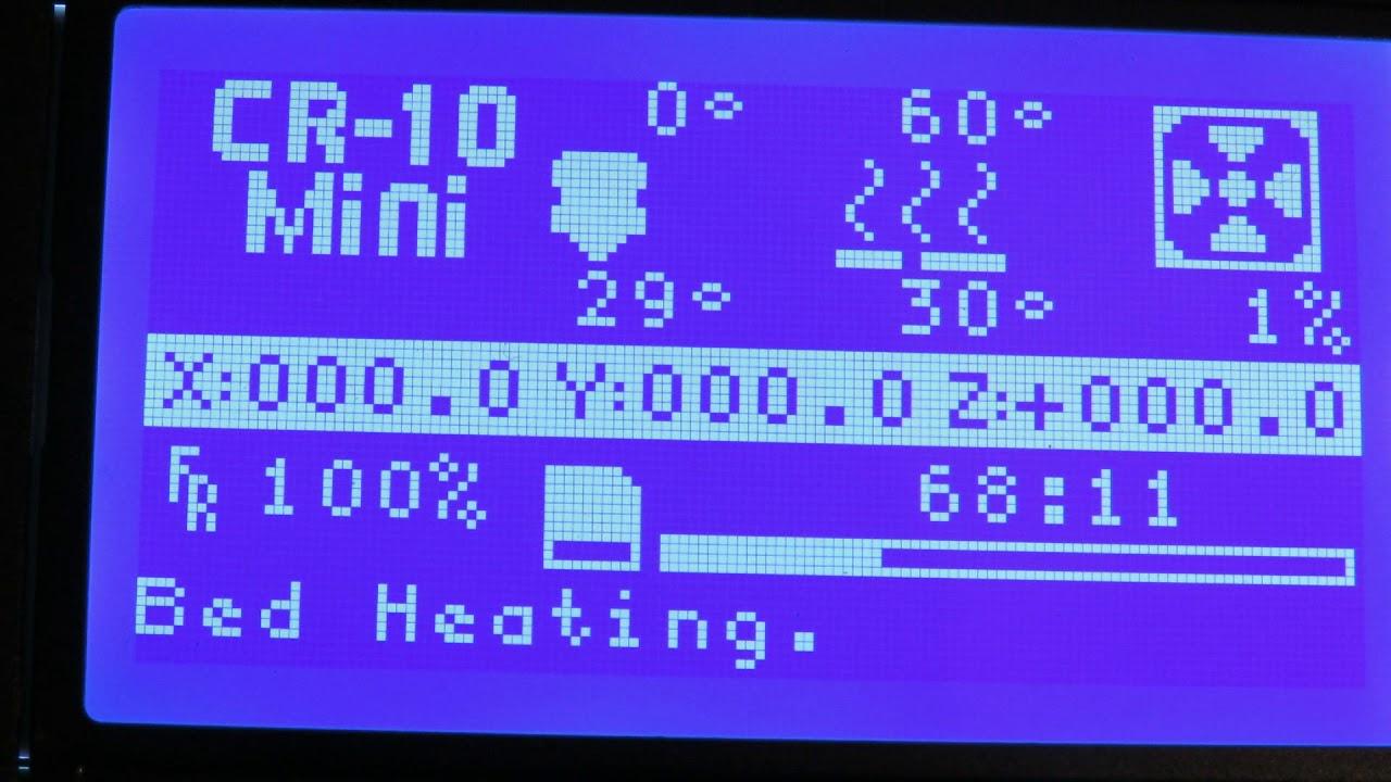 creality cr 10 mini 3d printer resume print test after a power