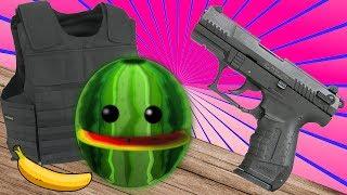 Experiment - Schreckschuss Pistole vs Wassermelone und Schutzweste