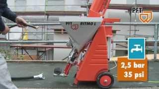 PFT RITMO L w trakcie pracy/ kompaktowy agregat tynkarski