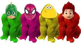 Pj Masks, Spiderman, Pou, Ryder Gorilla Finger Family Colors Learn - Balloons