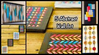 5 Abstract Wall Art Ideas| gadac diy| Unique Wall Hanging Ideas| decor ideas to brighten your room