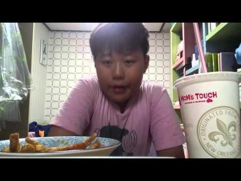 맘스터치 통새우버거,싸이버거세트 - YouTube