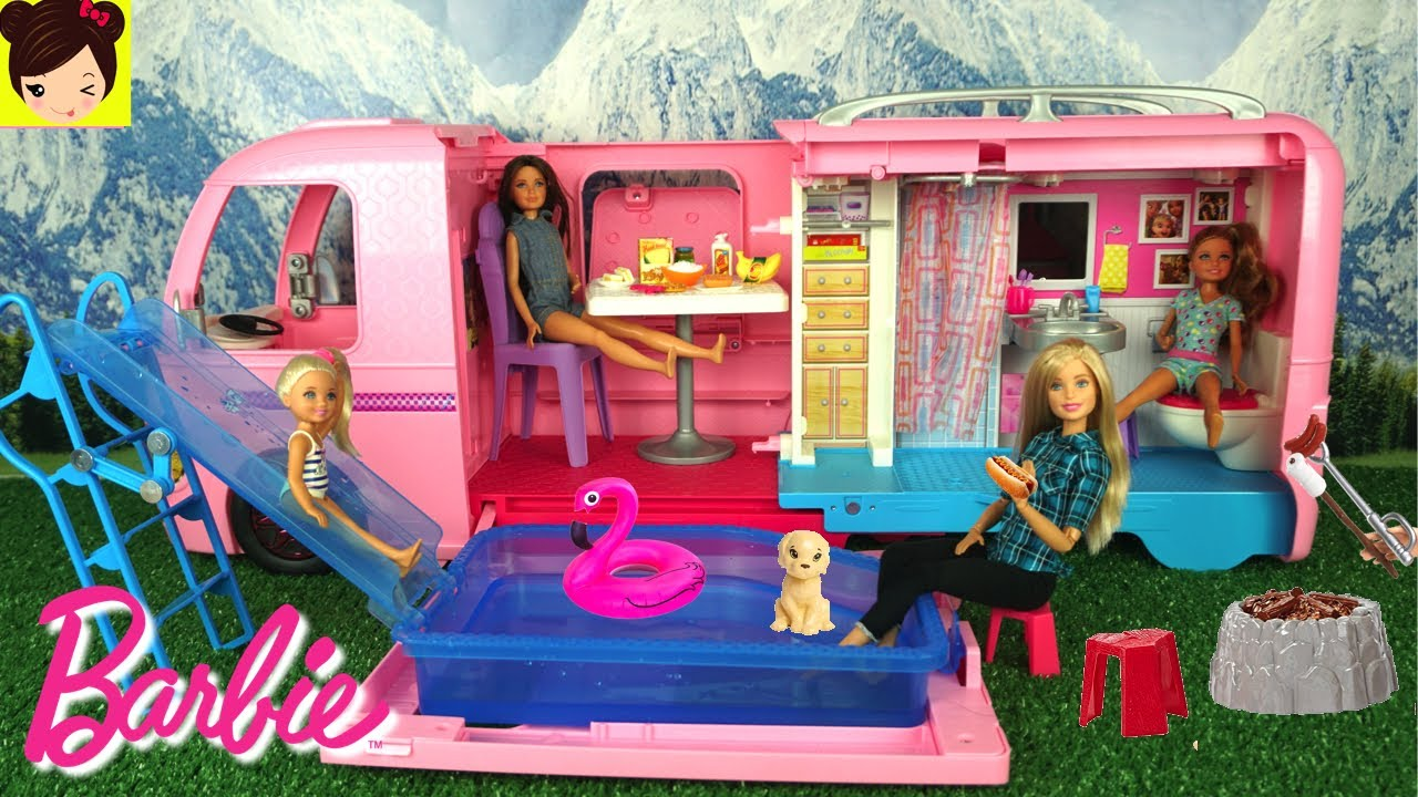 nuevo barbie camper con piscina y tobogan chelsea stacie skipper aventuras de campamento youtube. Black Bedroom Furniture Sets. Home Design Ideas