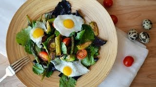 Reel Flavor - Roasted Asparagus & Brussel Sprout Salad Topped With Fried Quail Eggs