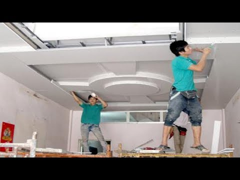 Amazing Techniques Construction Plaster Ceiling Living Room - Building House, Step By Step