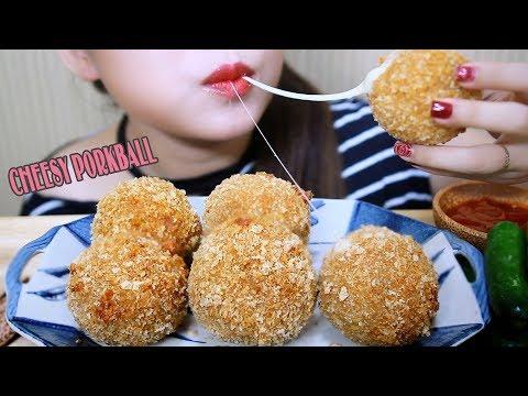 ASMR Huge cheesy Porkball(homemade) crunchy eating sounds | LINH-ASMR