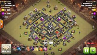 TH9 vs TH9 Lavaloonion 3 star war attack clash of clans Vice Crusher Jibb