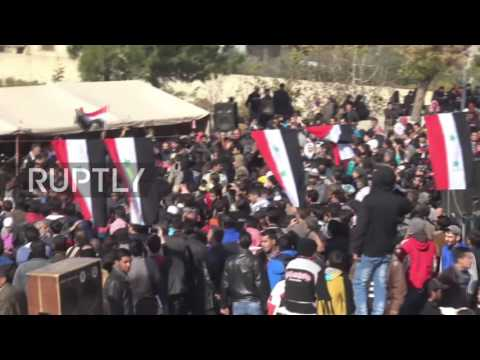 Syria: Residents celebrate as Syrian army enters Al-Tall, northwest of Damascus
