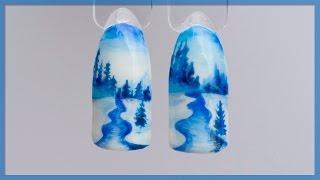 Маникюр Зимний пейзаж. Дизайн ногтей Зима: снег, елочки, река. Рисунок гель лаком