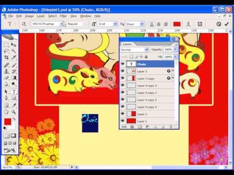 Photoshop CS2 - Phan 21 - Bai 3 - Thiet ke thiep xuan doc quyen
