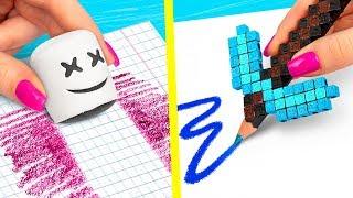 10 DIY Fortnite School Supplies vs Minecraft School Supplies Challenge